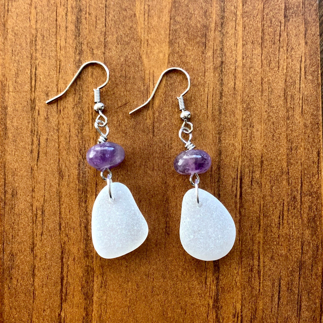 purple amethyst and white genuine seagrass earrings