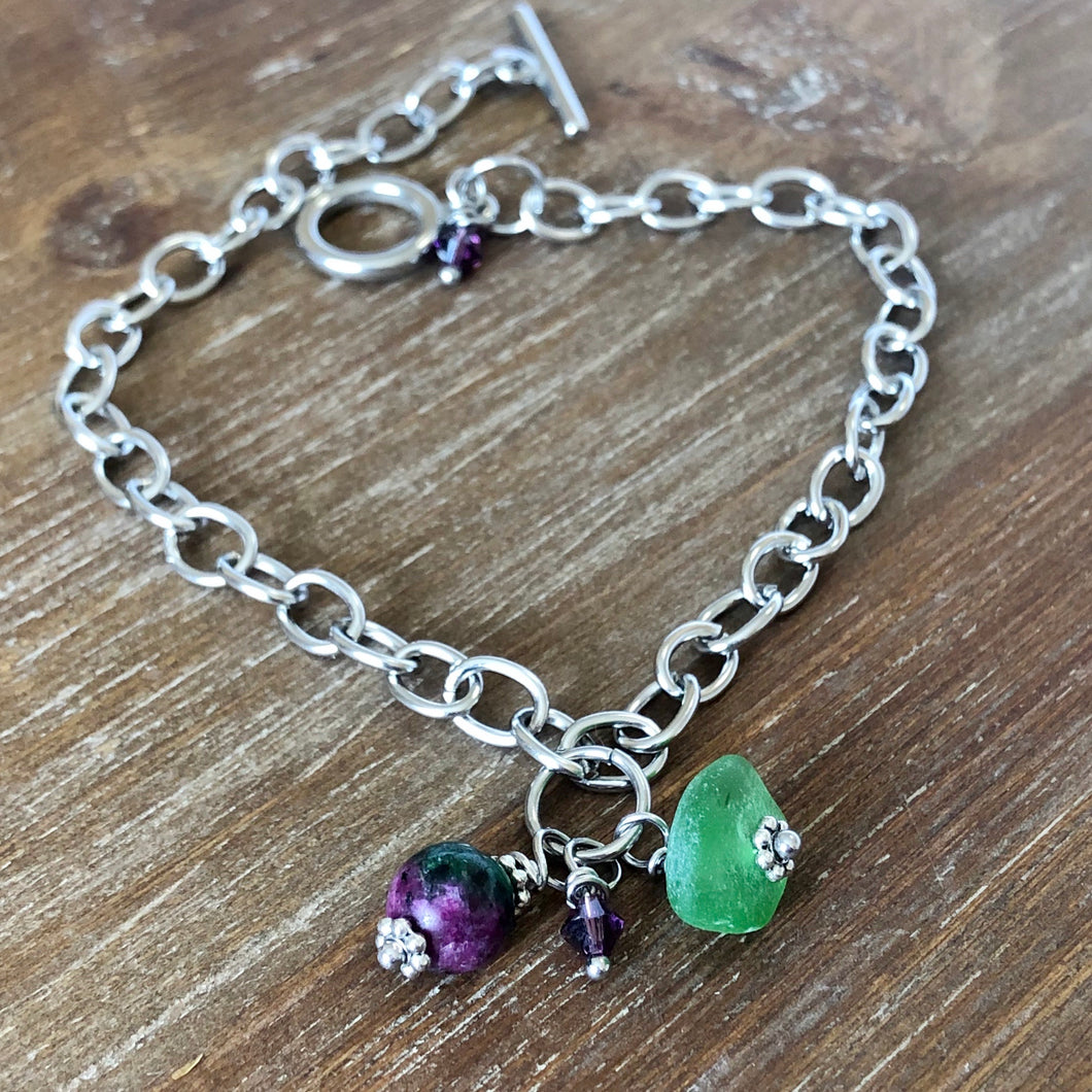 Sea Glass, Purple/Green Jasper Gemstone and Swarovski Crystal Anklet
