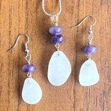 Load image into Gallery viewer, Gorgeous Amethyst and White Sea Glass Pendant