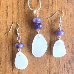 Gorgeous Amethyst and White Sea Glass Pendant