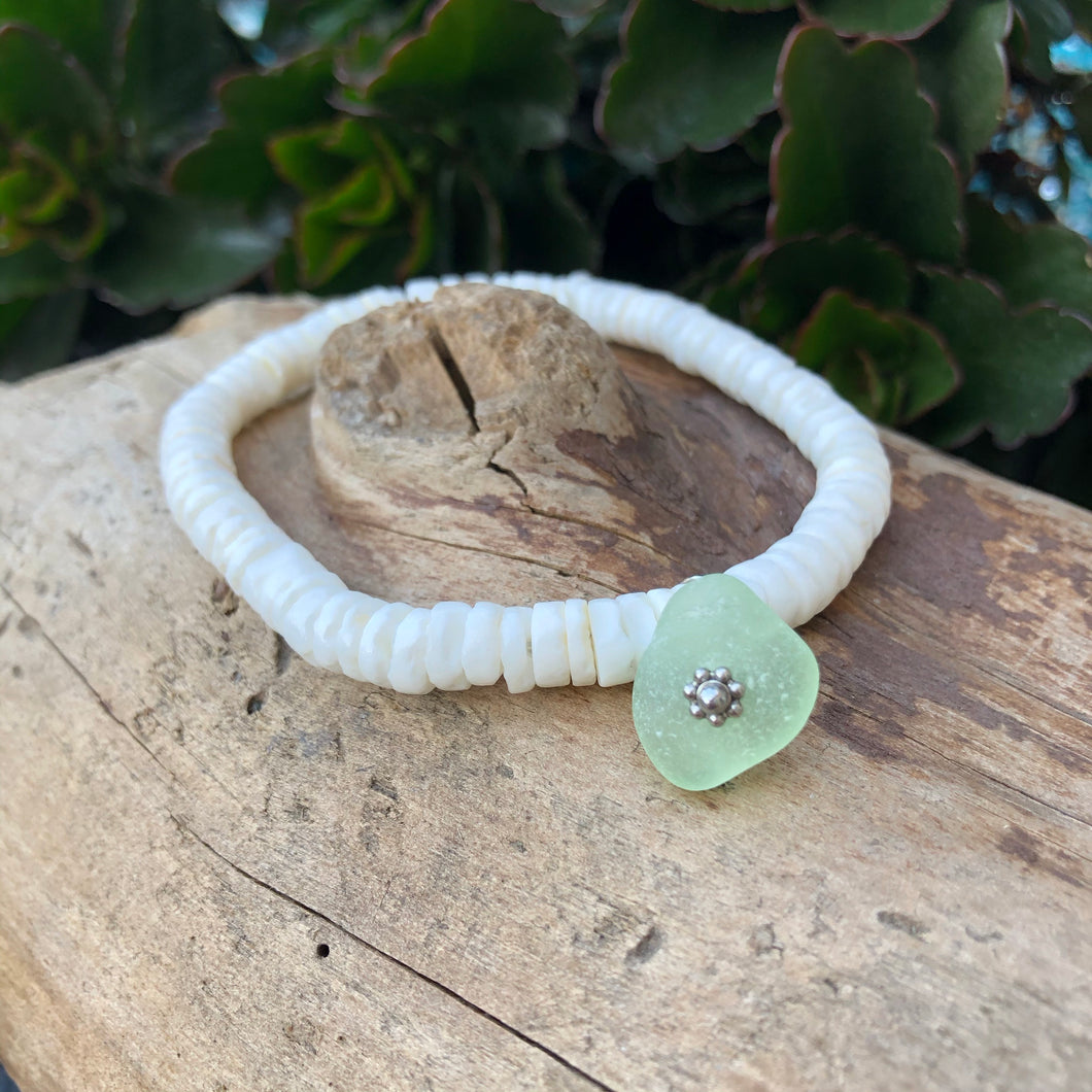 White Heishi Seashell Bracelet with Genuine Sea Glass