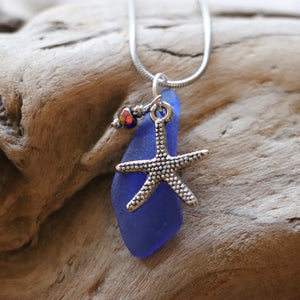 Gorgeous Rare Cobalt Blue Genuine Sea Glass Pendant with Starfish Charm and Hematite Bead