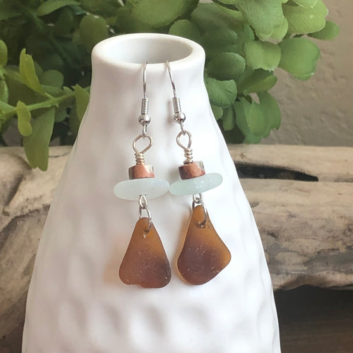 Jasper, Light Aqua and Brown Genuine Sea Glass Earrings