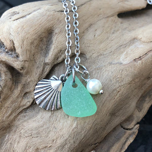 Aqua Green Sea Glass Charm Necklace with Shell and Glass Pearl