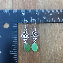 Load image into Gallery viewer, Long Dangle Green Genuine Sea Glass Earrings