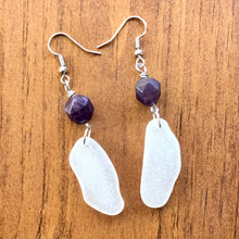 Load image into Gallery viewer, Beautiful Purple Amethyst and White Genuine Sea Glass Earrings