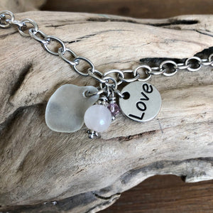 Sea Glass, Rose Quartz Gemstone, Swarovski Crystal and Heart Charm Toggle Bracelet