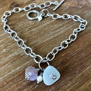 Sea Glass and Lavender Amethyst Gemstone Anklet