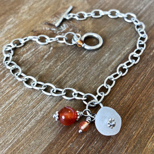 Sea Glass, Carnelian Gemstone and Red Agate Bead Anklet