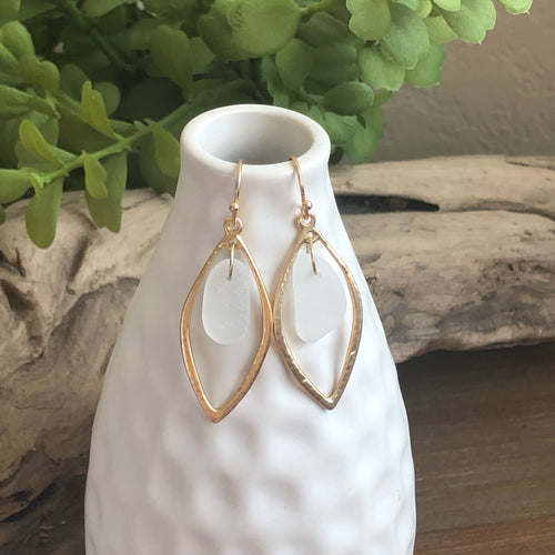 White Genuine Sea Glass gold earrings hoops