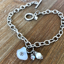 Load image into Gallery viewer, Sea Glass, Swarovski Crystal and Glass Pearl Anklet