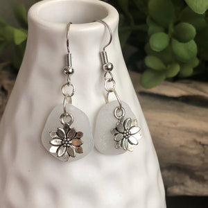 White Genuine Sea Glass floral earrings