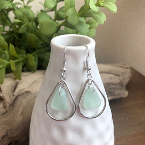 aqua blue genuine sea glass silver hoop earrings