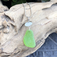 Load image into Gallery viewer, Gorgeous Rare Lime Green and White Genuine Sea Glass Pendant