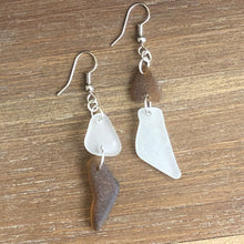 Load image into Gallery viewer, brown and white genuine sea glass earrings