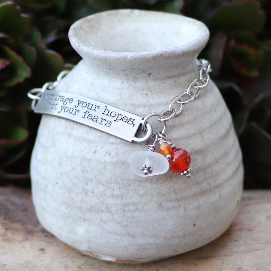 Inspirational Sea Glass, Carnelian and Red Agate Gemstone Bracelet