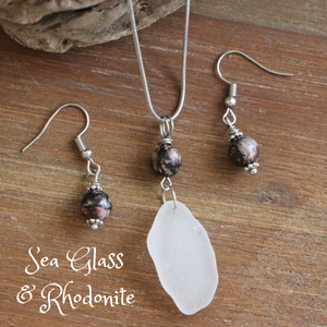 Sea Glass and Rhodonite Necklace & Earrings Set