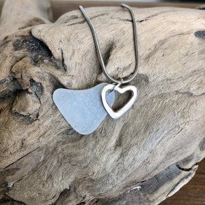 Natural Heart Shaped Sea Glass with Heart Charm