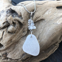 Load image into Gallery viewer, Gorgeous Quartz and White Sea Glass Pendant