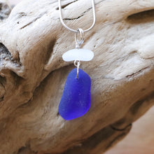 Load image into Gallery viewer, Cobalt Blue and White Genuine Sea Glass Pendant