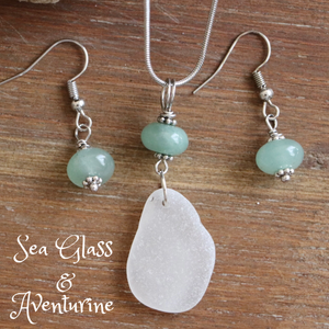 Sea Glass and Adventurine Necklace & Earrings Set
