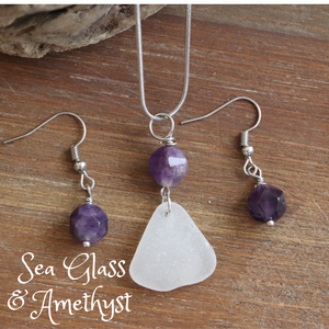 Sea Glass and Amethyst Necklace & Earrings Set