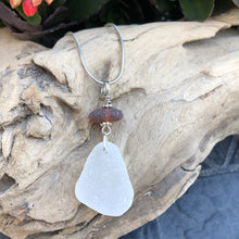 Load image into Gallery viewer, White and Brown Stacked Genuine Sea Glass Necklace
