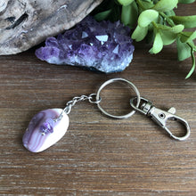 Load image into Gallery viewer, Genuine Wampum and Amethyst Keychain
