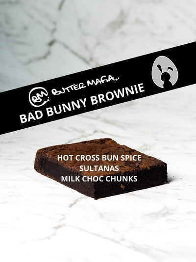 Bad Bunny Brownie 100% Gluten Free Safe for Coeliacs Easter Chocolate Brownie Hot Cross Bun Spice Sultanas Milk Chocolate Chunks Best Brownies Melbourne Best Desserts Melbourne Best Gluten Free Melbourne Wide Delivery Gluten Free Bakery Melbourne Northcote Click and Collect Melbourne Dessert Delivery