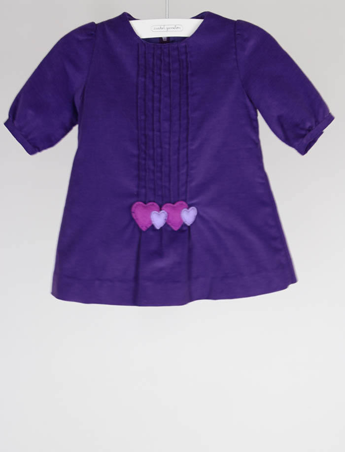 Plum Corduroy Infant Girls Dress with Hearts