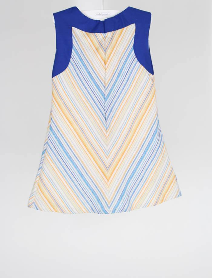 Thin Rainbow Stripe with Blue Toddler Girls Dress - Size 4T
