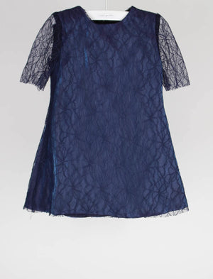 Half Sleeve Blue Fine Lace Iridescent Toddler Girls Dress - Size 2T - Last One