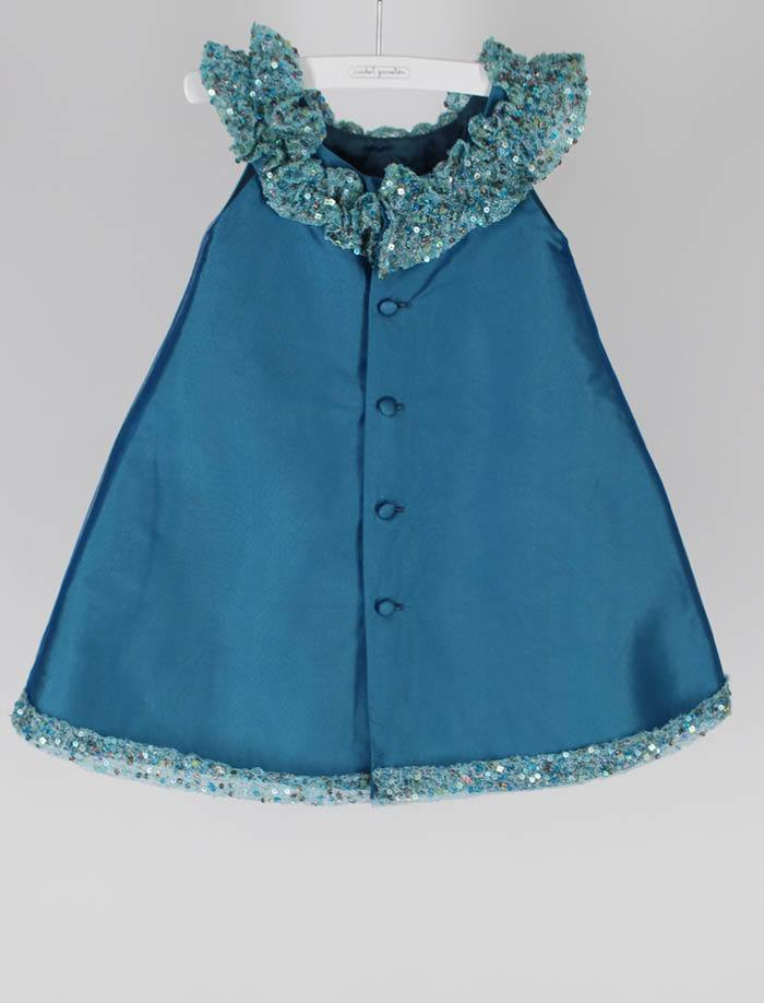 Aqua Taffeta Toddler Girls Dress with Sparkle Hem and Ruffle Collar Size 2T - Last One