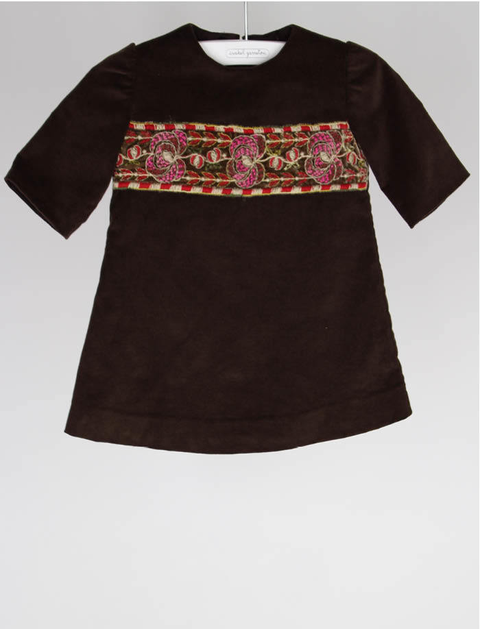 Chocolate Corduroy Embroidered Band Infant Girls Dress