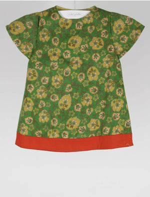 Green Print Infant Girls Dress with Orange Hem 6m - Last One