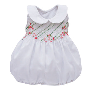 Roses Hand Embroidered Smocked Bubble