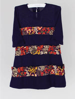 Purple 4-6x Girls Dress with Fall Floral Ruffle Detail