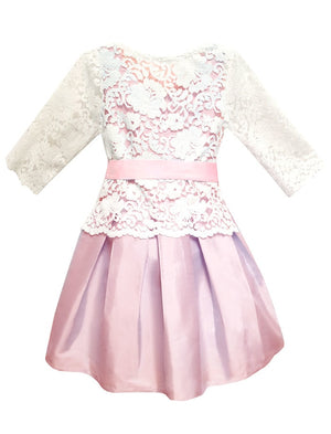 Fable 3/4 Sleeve Removable Lace Top Girls Dress Mid-Calf Length