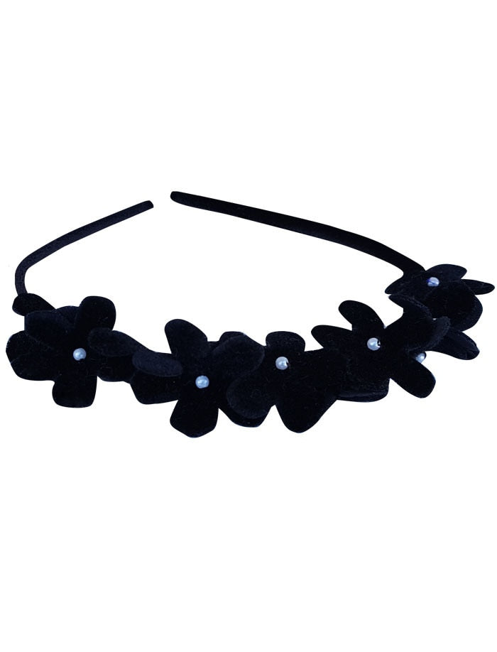 Girls Headband with Velvet Flowers & Pearls