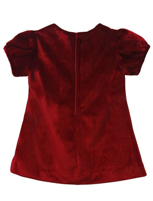 Short Sleeve Velvet Girls Shift