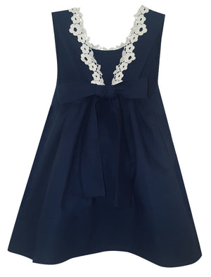 Girls Cotton Sundress with Lace and Big Bow Detail