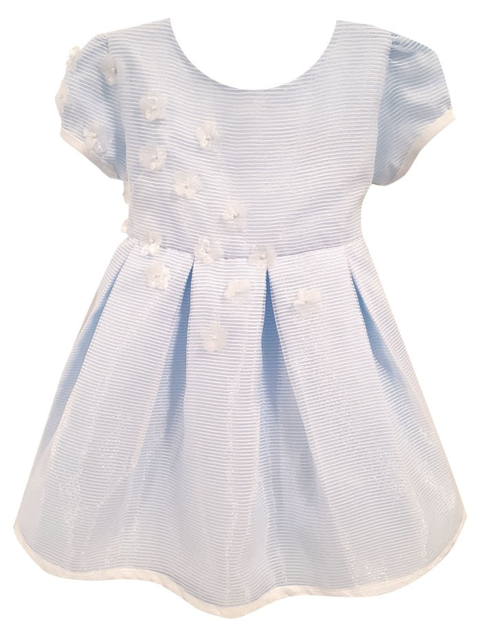 Beloved Hand Emb Flowers Baby Dress with Short Sleeves