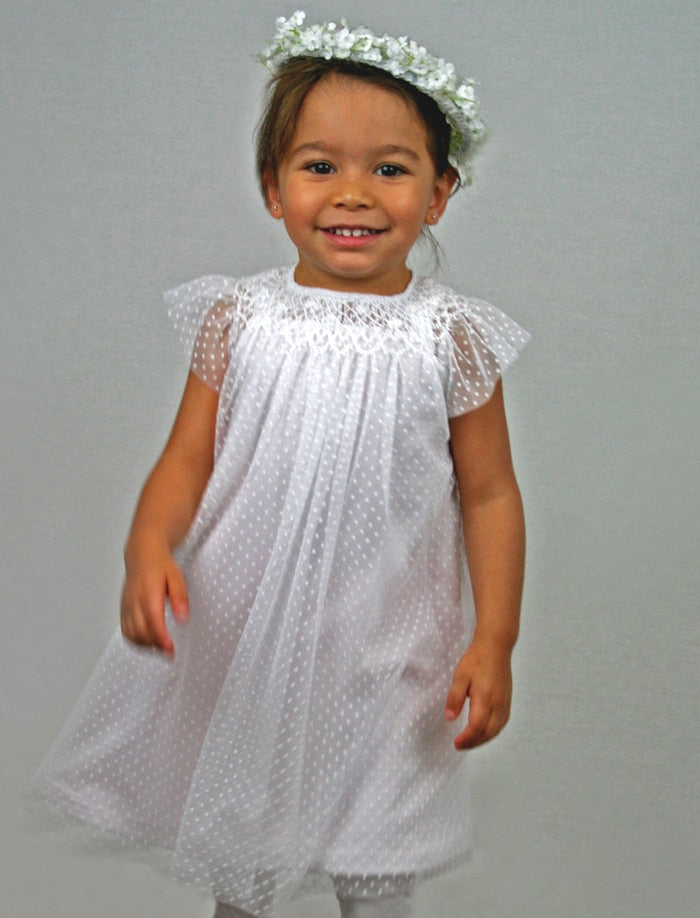 Angelic Swiss Dot Hand Smocked Toddler Bishop