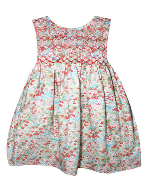 Cotton Floral Hand Smocked Baby Dress