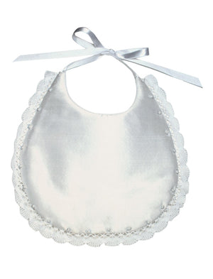 Baby Bib with Pearls and Lace with Monogram Option
