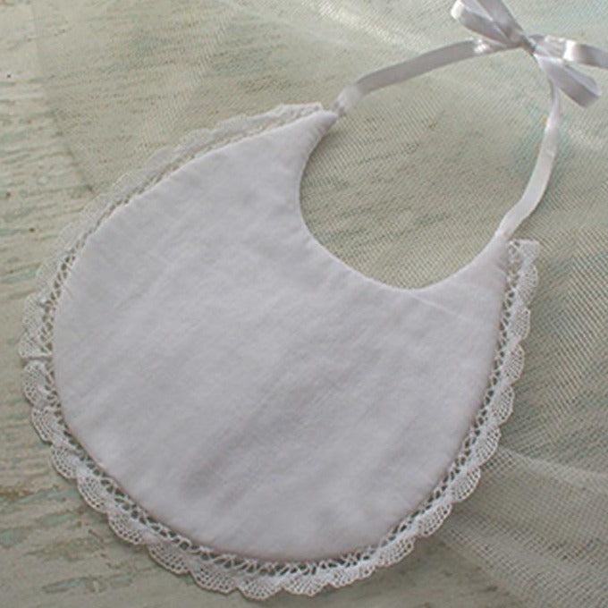 Baby Bib with Lace and Monogram Option