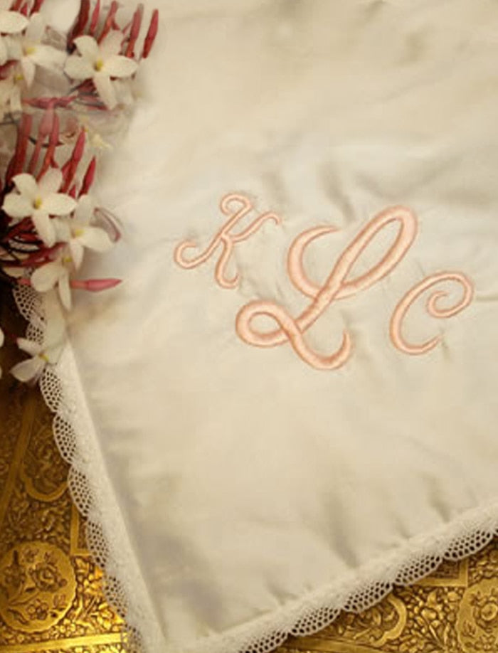 Lace Trim Baby Blanket with Monogram Option