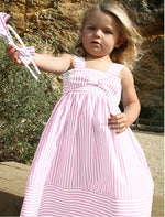 Pink Wide Stripe Big Bow Girls Sundress