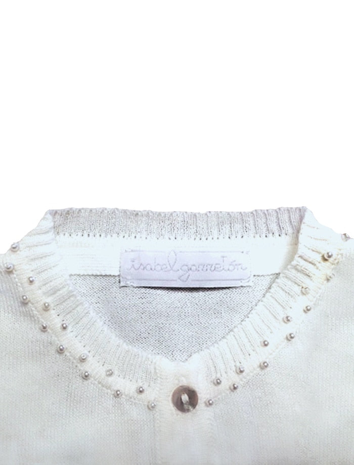 Fine Knit Girls Cotton Cardigan with Pearls