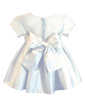 Chic Girls Dress with Pleated Sash Below Knee Length